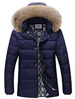 Пальто Простое Обычная На подкладке Мужчины,Однотонный На каждый день Полиэстер Полипропилен,Длинный рукав Капюшон Синий
