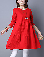 Women's Plus Size / Casual/Daily Street chic Loose DressSolid Above Knee / Asymmetrical Long Sleeve Cotton