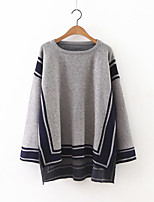 Women's Going out Sophisticated Long Pullover,Color Block Blue / Black / Gray Round Neck Long Sleeve Cashmere / Polyester Fall Medium