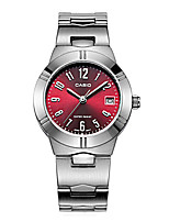 CASIO Ladies Steel Watch Small Dial Quartz   Watch with Red Plate LTP-1241D-4A2