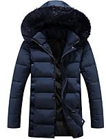 Пальто Простое Длинная На подкладке Мужчины,Однотонный На каждый день Полиэстер Хлопок,Длинный рукав Капюшон Синий