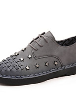 Women's Sneakers Spring Summer Fall Winter Other Leatherette Outdoor Casual Athletic Flat Heel Rivet Lace-up Black Gray