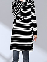 Sign striped 2016 new large size plus thick velvet high-necked long-sleeved sweater and a half dress