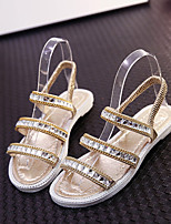 Women's Sandals Summer Comfort PU Casual Flat Heel Crystal Black / Silver / Gold Others