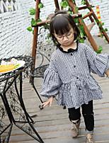 Menina de Camisa,Casual Quadriculada Algodão Primavera / Outono Preto