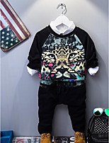 Boy's Casual/Daily Animal Print Clothing SetCotton Spring / Fall Black