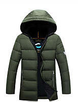 Men's Down Coat,Simple Casual/Daily Solid-Polyester White Duck Down Long Sleeve Hooded Black / Green