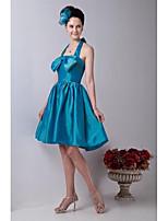 באורך  הברך טפטה גב יפהפייה שמלה לשושבינה - גזרת A קולר עם פפיון(ים)