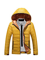 Men's Regular Down Coat,Simple Casual/Daily Solid-Polyester White Duck Down Long Sleeve Blue / Yellow
