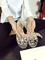 Women's Sandals Summer Comfort PU Casual Flat Heel Crystal Black White Champagne Others