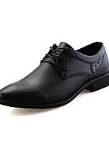 Черный / Синий-Мужской-Свадьба / Для офиса / Для вечеринки / ужина-Полиуретан-На плоской подошве-Удобная обувь-Туфли на шнуровке