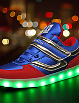 Boy's Athletic Shoes Spring Summer Fall Winter Comfort Light Up Shoes PU Outdoor Casual Athletic Flat Heel Buckle LED Black Blue