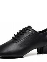 Latin Men's Dance Shoes Heels Breathable Low Heel Black