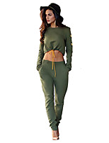 Women's Sports Active Fall / Winter Set Pant Suits,Solid Round Neck Long Sleeve Green Polyester Opaque
