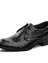 Men's Oxfords Spring / Fall Comfort PU Casual Flat Heel Lace-up Black / Brown Walking