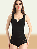 Women's Overbust Corset Nightwear Sexy / Lace Striped Nylon / Spandex Black / Skin Thin