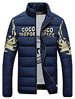 Men's Fashion Slim Printed Down Jacket Simple Plus Size / Casual/Daily Solid-Cotton / Polyester Cotton Long Sleeve Standing Collar