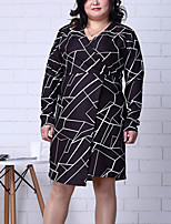 Women's Plus Size / Going out Street chic Sheath DressGeometric V Neck Knee-length Long Sleeve Black  / Winter High Rise