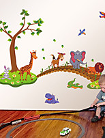 Zoo Cartoon Animals Giraffe Elephant Lion Bridge Wall Stickers Children's Bedroom Kindergarten Wall Decals