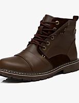 Men's Boots Fall / Winter Comfort Cowhide Casual Flat Heel Lace-up Black / Brown Sneaker
