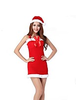 Christmas Costume /Holiday Halloween Costumes Red Solid Skirt / Hats Christmas Female