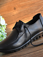 Women's Oxfords Spring Summer Fall Comfort Leather Casual Flat Heel Lace-up Black Red Others