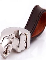 Jaguar Leopard Head Metal Leather Key Chain