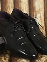 Черный / Желтый-Мужской-Для офиса / Для вечеринки / ужина-КожаУдобная обувь-Туфли на шнуровке