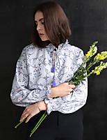 Chemise Femme,Fleur Sortie Vintage Automne Manches Longues Col Ras du Cou Violet Polyester Moyen