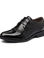 Черный-Мужской-На каждый день-Кожа-На низком каблуке-Удобная обувь-Туфли на шнуровке
