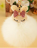 The Car Key Pendant MS Korea Plush Crystal Sweet Diamond Fox Ball Keychain Meng Rabbit