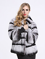 BF-Fur Style  Women's Casual/Daily Sophisticated Fur CoatStriped Crew Neck  Sleeve Winter Gray Rex Rabbit Fur