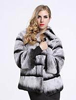 Feminino Casaco de Pelo Casual Sofisticado Inverno,Listrado Cinza Pêlo de Coelho Rex Gola Redonda-Manga ¾
