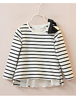Girl's Casual/Daily Striped TeeCotton Spring / Fall Black / Red