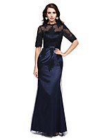 TS Couture® Formal Evening Dress Trumpet / Mermaid High Neck Floor-length Tulle / Stretch Satin with Appliques / Sash / Ribbon