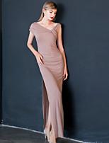 Женский На выход Простое Оболочка Платье Однотонный,V-образный вырез Макси С короткими рукавами Розовый Хлопок Лето Со стандартной талией