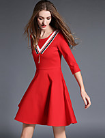 Women's Plus Size / Casual/Daily Simple Sheath DressSolid Round Neck Above Knee  Sleeve Red / Black Cotton Fall