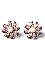 European Style Luxury Gem Geometric Earrrings Pink Crystal Flower Stud Earrings for Women Fashion Jewelry Best Gift