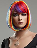 colorido do arco-íris bobo cabelo sintético peruca