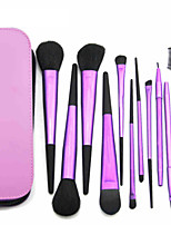 11 Makeup Brushes Set Goat Hair Professional / Portable Metal Handle Face/Eye / Lip Purple