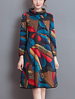 Women's Plus Size Sophisticated Loose DressRainbow Turtleneck Knee-length Long Sleeve Multi-color Cotton Spring