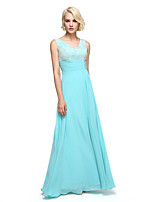 Lanting Bride®Floor-length Chiffon Bridesmaid Dress - Elegant A-line V-neck with Sash / Ribbon / Ruching
