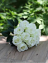 Set of 1 PCS 1 Une succursale Polyester Roses Fleur de Table Fleurs artificielles Long 15.7(inch)
