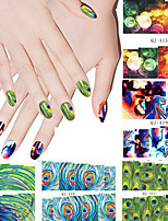 Unique Peacock Nail Art Stickers Minion Women Water Transfer Nail Sticker Sheet for Decorationsart Design(6PCS)