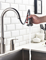 Contemporary Nickel Brushed Single Handle Two Holes Pull-down Kitchen Faucet
