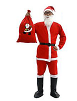 Christmas Costume/Holiday Halloween Costumes Red Solid Top / Pants / Belt / Shoes / Hats Christmas Male Pleuche