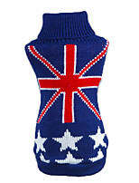 Cat Dog Sweater Dog Clothes Winter Spring/Fall National Flag Casual/Daily Dark Blue