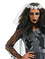 Cosplay Costumes Vampire Halloween Gray Print Cotton Dress / Headwear