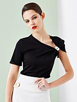 Tee-shirt Femme,Couleur Pleine Sortie Chic de Rue Eté Manches Courtes Asymétrique Noir / Vert Coton Opaque