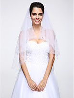 Wedding Veil Two-tier Elbow Veils Beaded Edge Net